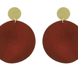 ROUND MATTE RED EARRINGS